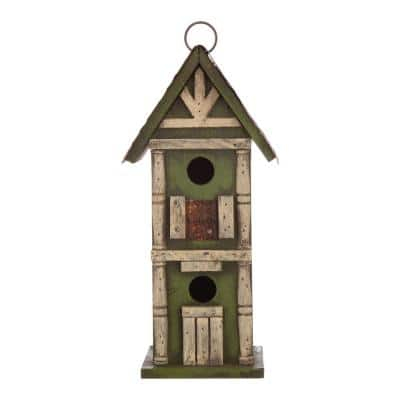 12.75 in. H Hanging Two-Tiered Distressed Solid Wood Birdhouse