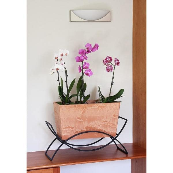 Achla Designs 18 25 In Tall Terra Cotta Mid Century Modern Indoor Outdoor Odile Stone Planter With Stand Fb 62 S The Home Depot
