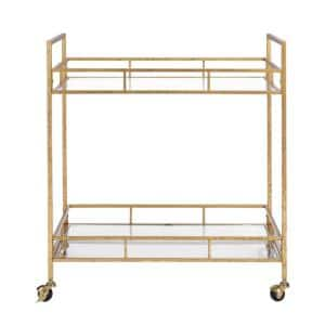 Gold Leaf Metal and Glass Rolling Bar Cart with Glass Top (30 in. W x 33 in. H)