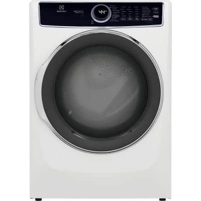 8 cu. ft. White Front Load Perfect Steam Electric Dryer with LuxCare Dry and Instant Refresh
