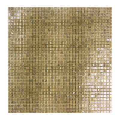 Galaxy Venus Gold Square Mosaic 0.3125 in. x 0.3125 in. Iridescent Glass Wall Tile (0.98 Sq. ft.)