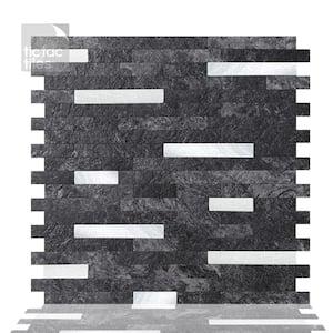 Metallic Tiles Grey Marble 11.5 in. W x 11.75 in. H Peel and Stick Decorative Metallic Wall Tile Backsplash (6-Tiles)