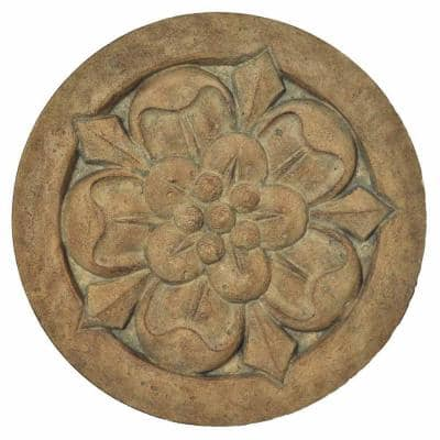 18 in. Round Aged Ivory Cast Stone Large Floral Step Stone or Wall Plaque (set of 3)
