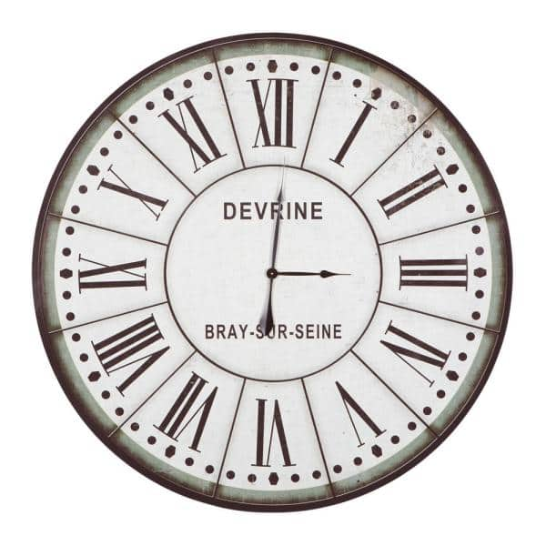 Yosemite Home Decor Devrine Series Green White Oversized Wall Clock Clkb1404172 The Home Depot