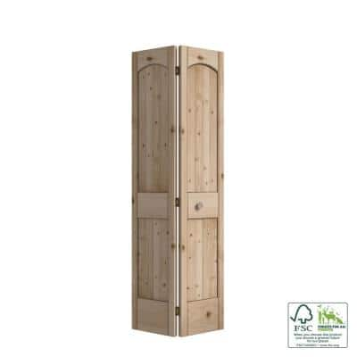 30 in. x 80 in. x 1-3/8 in. 2-Panel Arch Top V-Groove Knotty Pine Bi-Fold Door with Hardware Included