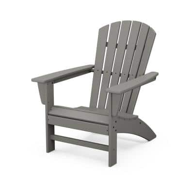 Grant Park Traditional Curveback Gray Plastic Outdoor Patio Adirondack Chair
