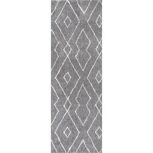 Beaulah Modern Geometric Shag Gray 3 ft. x 8 ft. Runner
