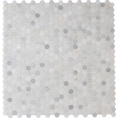 Tile Sample - Greecian White Mini Hexagon 6 in. x 6 in. x 10mm Polished Marble Mesh-Mounted Mosaic Tile