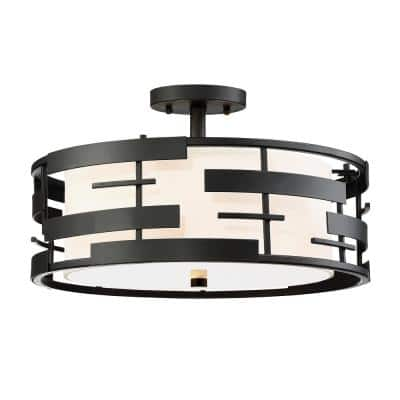 3-Light Textured Black Semi-Flush Mount with White Fabric Shade and Opal Diffuser