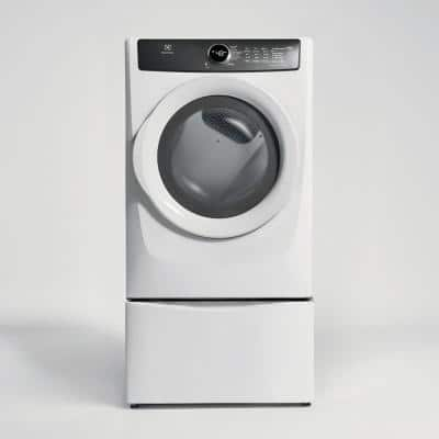 8.0 cu. ft. Front Load Perfect Steam Electric Dryer in White