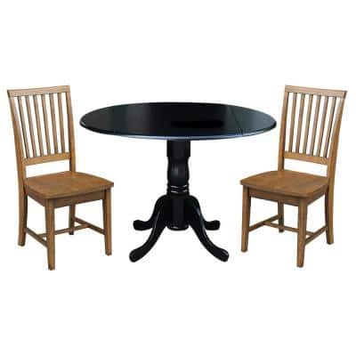3-Piece 42 in. Black/Pecan Dual Drop Leaf Table Set with 2-Side Chairs