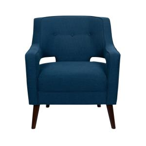 Blue Velvet Upholstery Solid Wood Frame Accent Arm Chair