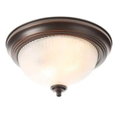 11 in. 2-Light Oil-Rubbed Bronze Flush Mount with Frosted Swirl Glass Shade