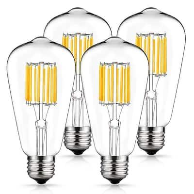 100-Watt Equivalent ST64 E26 Edison LED Light Bulb in Warm White 2700K (4-Pack)