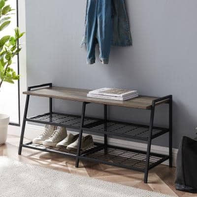 Grey Wash Industrial Metal and Wood Entry Bench