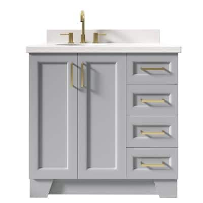 Taylor 37 in. W x 22 in. D Bath Vanity in Grey with Quartz Vanity Top in White with White Basin