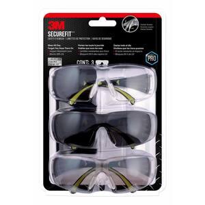SecureFit 400 Series Black/Neon Green Frame with Anti-Fog Lens Safety Eyewear (3-Pack)