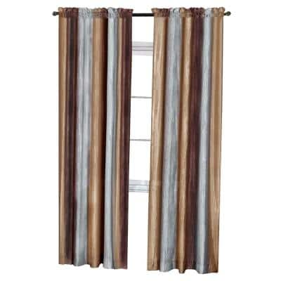 Ombre 50 in. W x 84 in. L Polyester Light Filtering Window Panel in Chocolate
