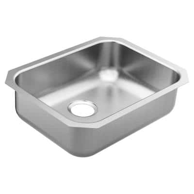 1800 Series Stainless Steel 23.5 in. Single Bowl Undermount Kitchen Sink with 7 in. Depth and Center Rear Drain Hole