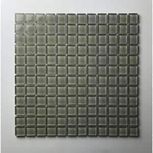 Classic Design Jade Green Square Mosaic 1 in. x 1 in. Glossy Glass Wall Floor & Pool Tile (10.78 sq. ft./Case)