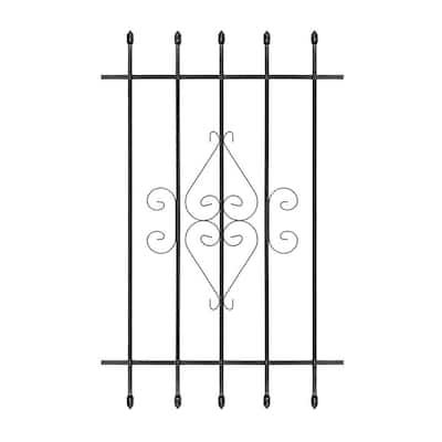 30 in. x 48 in. Su Casa Black 5-Bar Window Guard