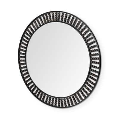 Large Round Black Contemporary Mirror (42.1 in. H x 42.1 in. W)