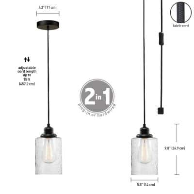 Annecy 1-Light Plug-In or Hardwire Dark Bronze Pendant Light with Seeded Glass Shade
