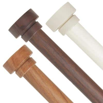 1 inch Adjustable Single Faux Wood Curtain Rod 48-84 inch in Chestnut with Bonnet Finials