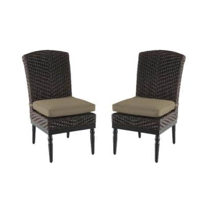 Camden Dark Brown Wicker Outdoor Patio Armless Dining Chair with CushionGuard Toffee Solid Cushions (2-Pack)