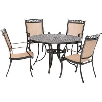 Fontana 5-Piece Aluminum Outdoor Dining Set with 4 Sling Chairs and a 48 in. Cast-Top Table