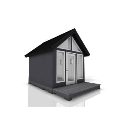 Installed Shed Rustica Series Escape 10 ft. x 12 ft. Backyard Studio with Painted Wood Siding, Wood Foundation and Deck