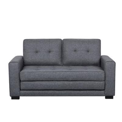 Bray 58 in. Dark Gray Linen 2-Seater Twin Sleeper Sofa Bed with Removable Cushions