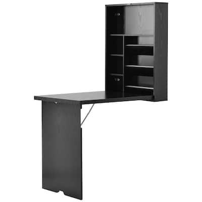 23.6 in. Rectangular Black MDF Floating Desk with Built-In Storages
