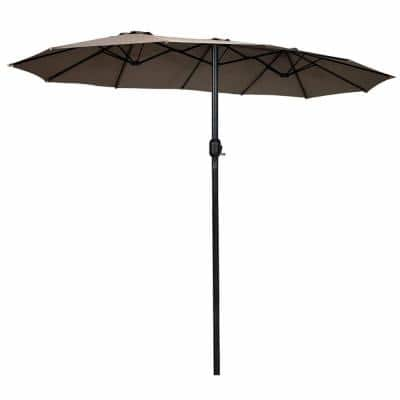 15 ft. Twin Double-Sided Outdoor Market Patio Umbrella in Tan without Base