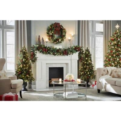 5 ft. Pre-Lit LED Woodmoore Artificial Christmas Tree with 70 Warm White Lights (2-Pack)