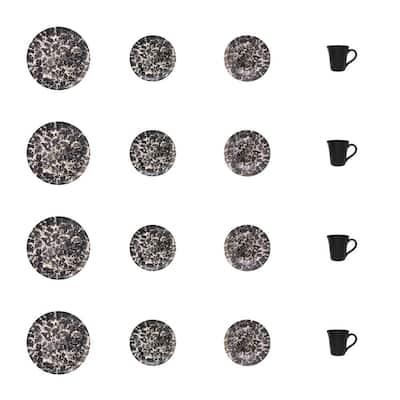 Unni 16-Piece Charcoal Stoneware Dinnerware Set (Service for 4)