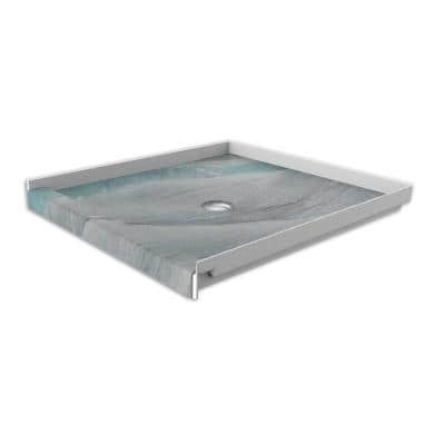 36 in. x 36 in. Single Threshold Shower Base with Center Drain in Triton