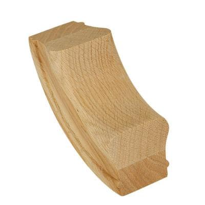 7214 Unfinished Wood Red Oak 90° Up-Easing Stair Hand Rail Fitting