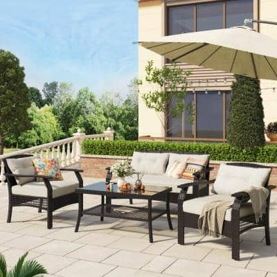 Dark Brown 4-Pieces Wicker Outdoor Sectional Set with Beige Cushions