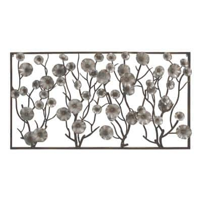 Iron Rustic Gray Flower and Vine Wall Decor