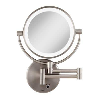 12 in. L x 9 in. W LED Lighted Round Wall Mount Bi-View 5X/1X Magnification Plugin Beauty Makeup Mirror in Satin Nickel