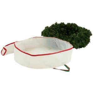 30 in. W White with Red and Green Artificial Storage Bag for Wreaths