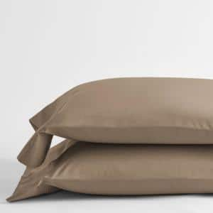 Classic Walnut Solid 210-Thread Count Cotton Percale Standard Pillowcase (Set of 2)