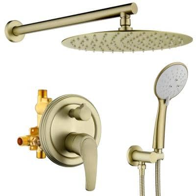 5-Spray Patterns with 2.35 GPM 12 in. Wall Mount Dual Shower Heads with Valve Included in Brushed Gold
