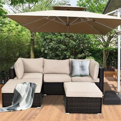 Island 5-Piece Wicker Patio Conversation Set with Beige Cushions