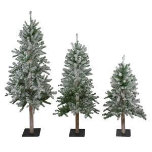 Unlit Flocked Alpine Artificial Christmas Trees (Set of 3)