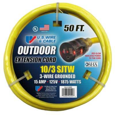 USW 50 ft. 10/3 Yellow Heavy-Duty Extension Cord with Lighted Plug