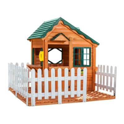 Mayfield Cottage Playhouse with Wooden Floor and Picket Fence
