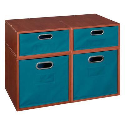 20 in. H x 26 in. W x 13 in. D Cherry Wood 4-Cube Storage Organizer