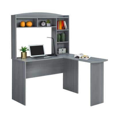 48 in. L-Shaped Gray Computer Desk with Hutch